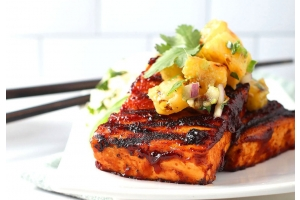 BBQ Tofu Steaks w/ Grilled Pineapple Salsa